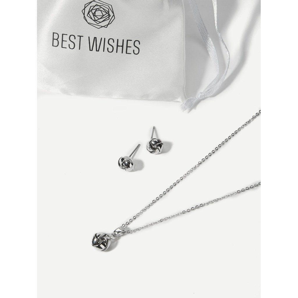 Metal twist necklace u stud earrings in jewelry accessories