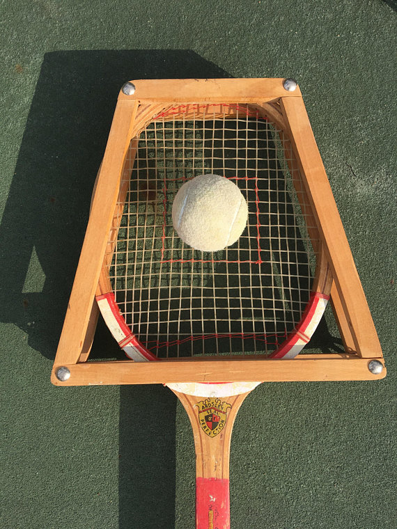 Vintage Champion Tennis Racquet with Wood Press, 1960s