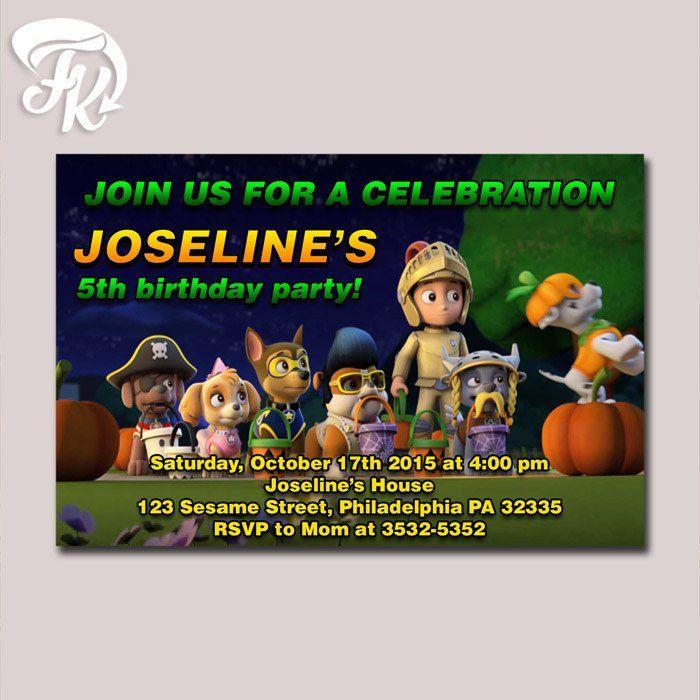 Paw Patrol Halloween Design Birthday Party Card Digital