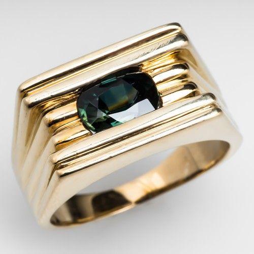 Mens Green Sapphire Ring cuffs collars Pinterest