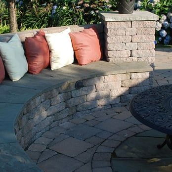 Masonry And Stone Fireplace With Seatwalls And Flagstone And Brick Paving Yelp Backyard Fireplace Outdoor Living Areas Decorative Concrete Blocks