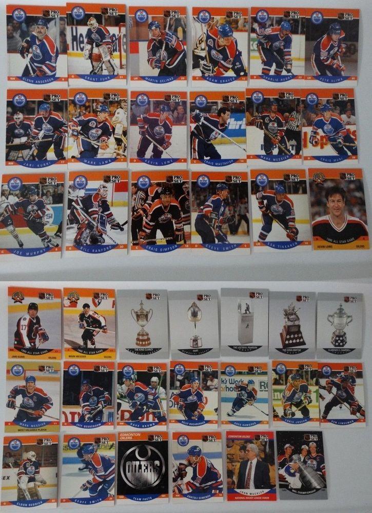 199091 pro set edmonton oilers team set of 38 hockey