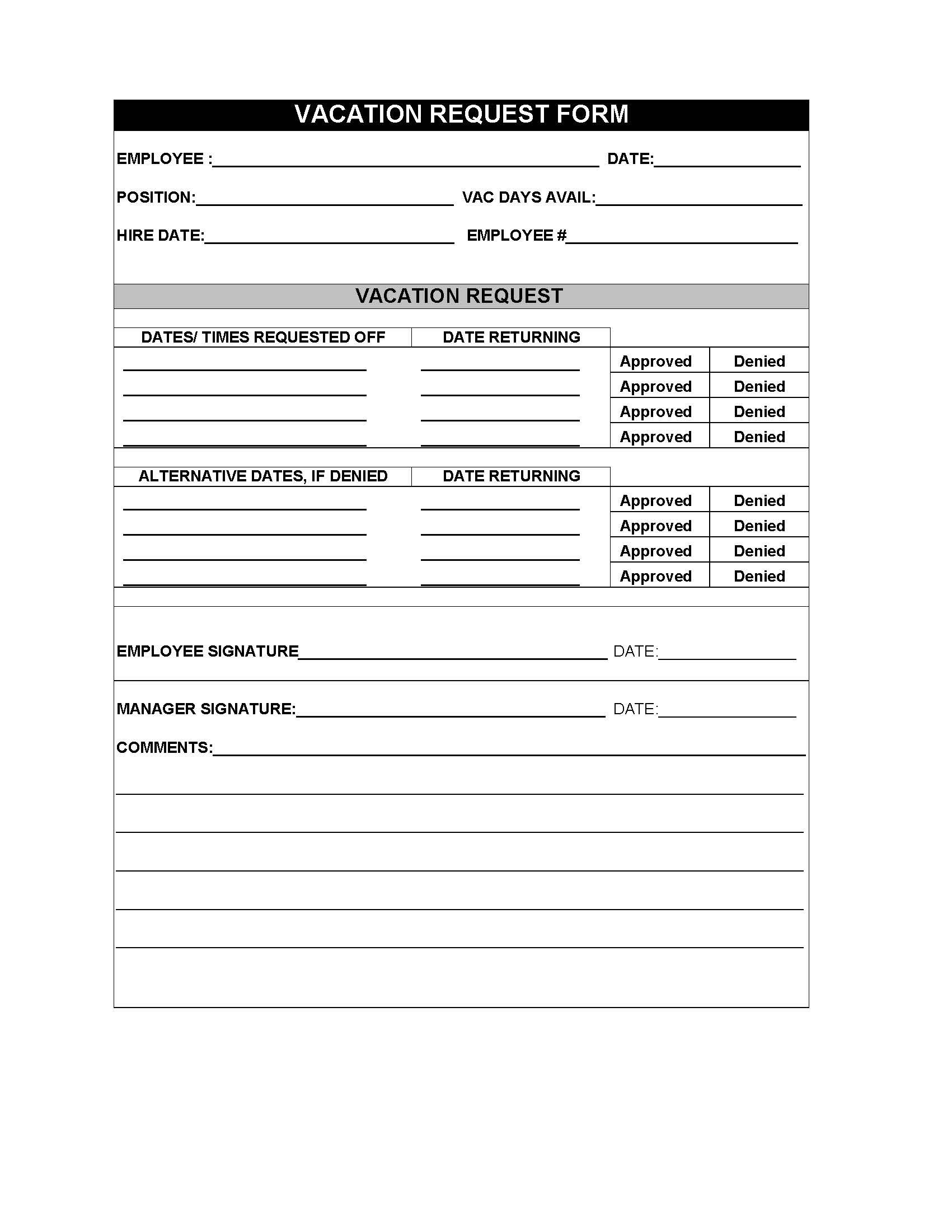 Restaurant employee vacation request form – Vacation Request Form