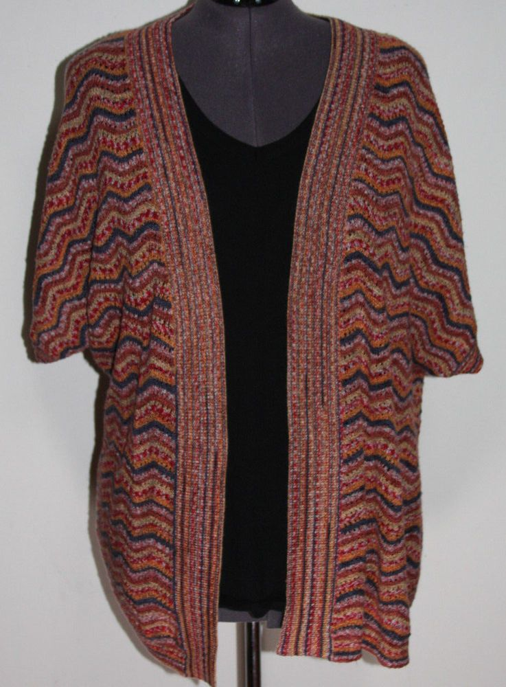 Catherine's 3X 26/28 Colorful Open Short Sleeve Cardigan Sweater ...