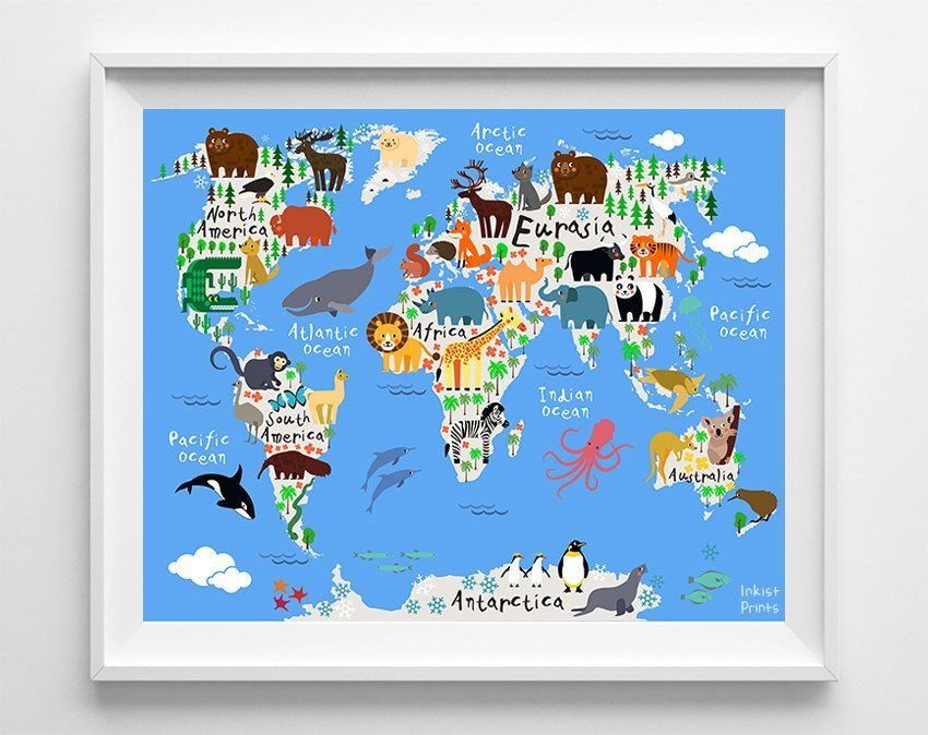 Animal world map blue background print blue backgrounds animal world map blue background print gumiabroncs Image collections