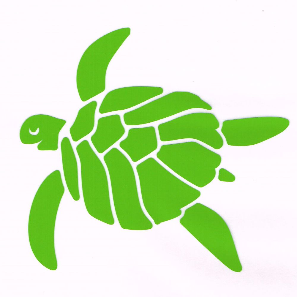 Happy Sea Turtle Car Decal Lime Green | Car decal and Sea ...