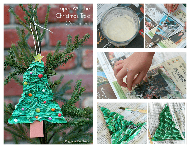 Homemade Christmas Tree Ornament Using Newspaper and Flour ...