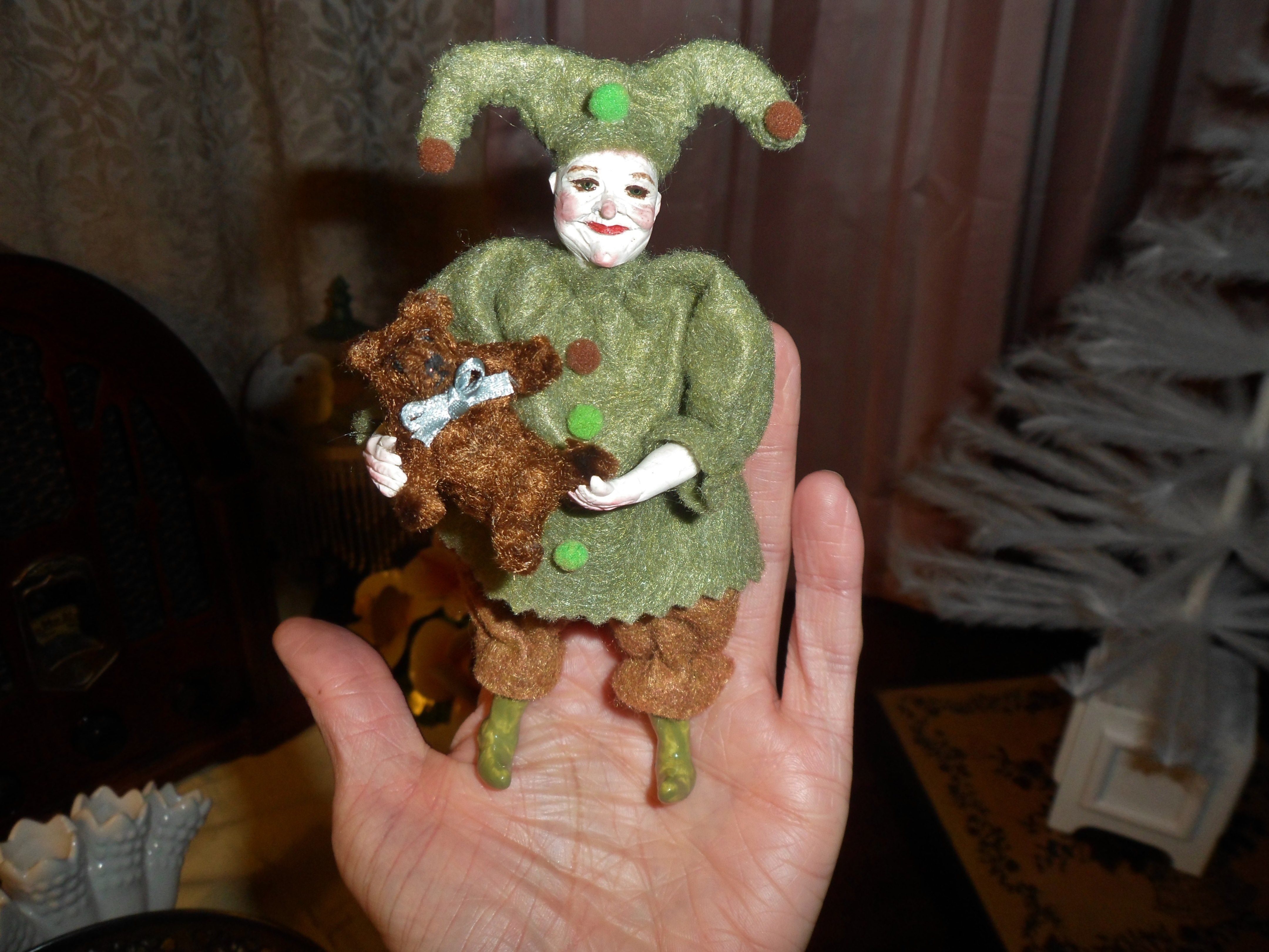 dollhouse miniature jester and his bear
