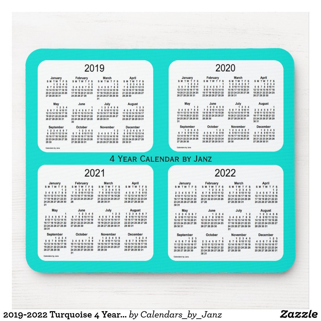 20192022 Turquoise 4 Year Calendar by Janz Mouse Pad