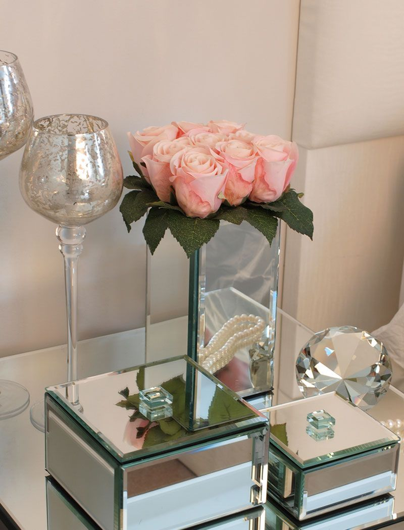 Roses in a tall mirrored cube pale pink rtfact artificial roses in a tall mirrored cube pale pink rtfact artificial silk flowers reviewsmspy