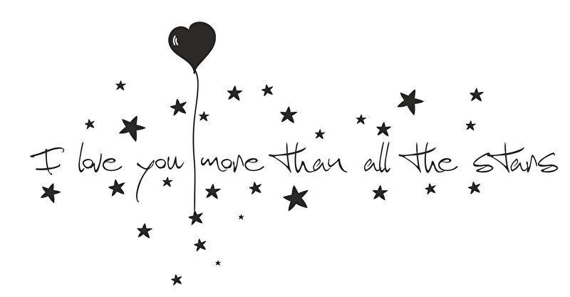 Muursticker I love you more than the stars