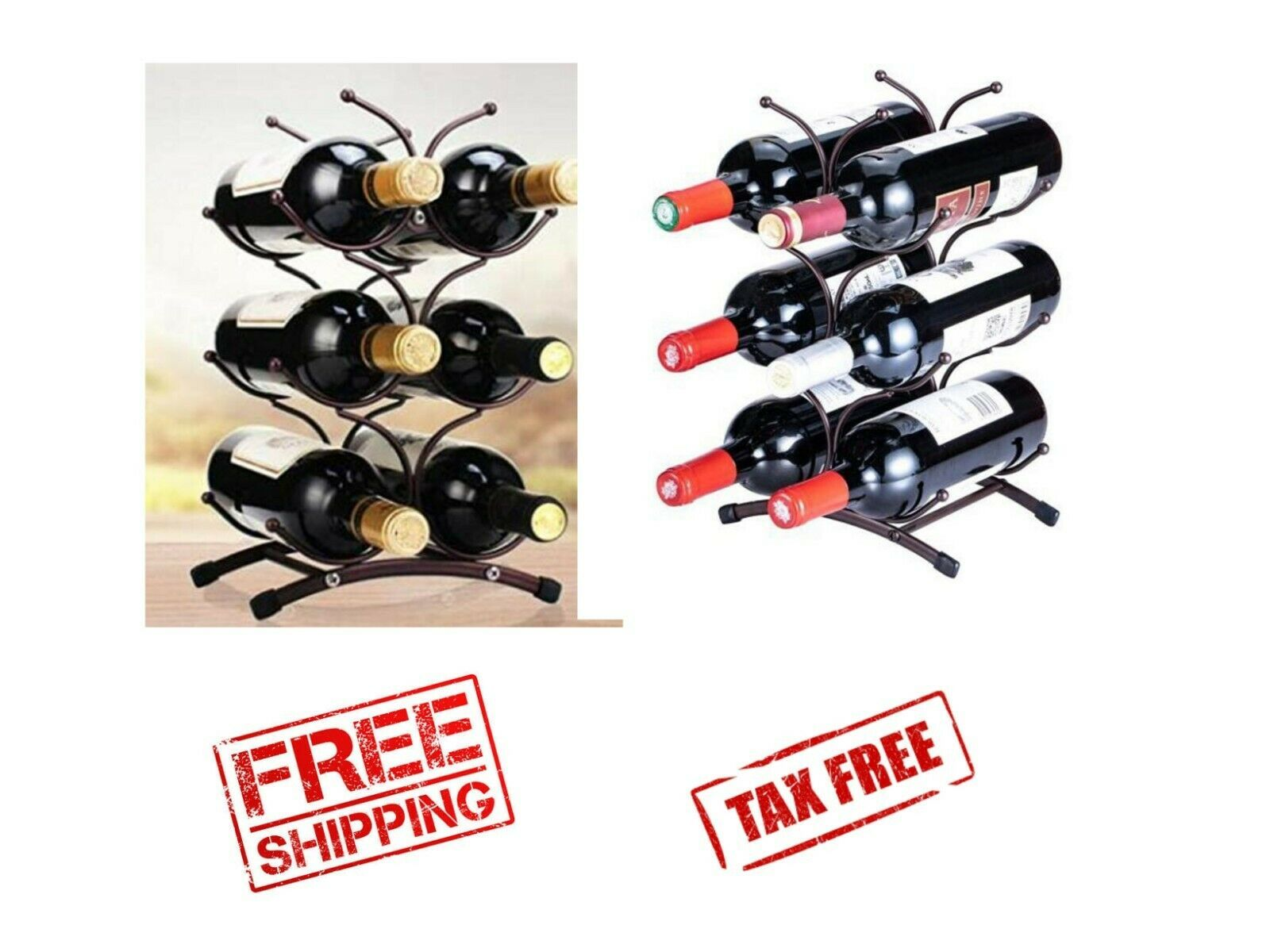 Space Saving Vintage 3 Tier Metal Countertop Wine Rack Holds 6