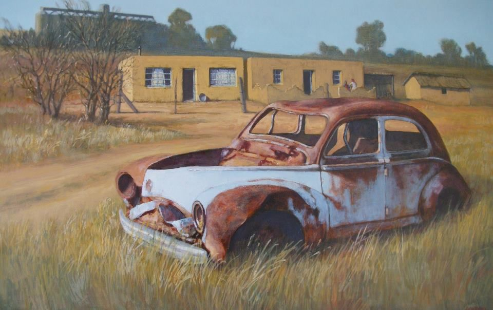 Painting Of An Old Rusted Car Wreck Somewhere On A Farm In The Eastern Free Africa PaintingSouth African ArtistsRusty CarsBarn FindsAbandoned