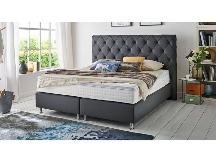 Chesterfield Look Box Spring Bed 140x200 Cm Taupe Overland Betten D 140x200 Bed Bettend Box Chesterfield In 2020 Box Spring Bed Divan Sets Living Room Pillows