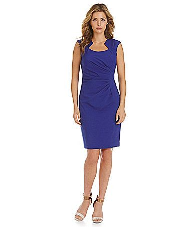 Calvin Klein Sideruched Luxe Sheath Dress Dillards