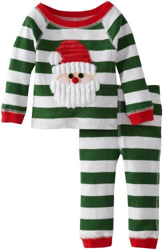 ce64ef6cd4 Green and white striped knit two piece set includes long sleeved top with  red trim at wrists
