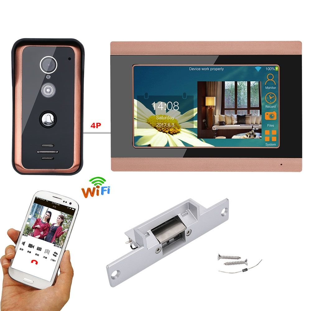 7 Inch Wired Wifi Video Door Phone Doorbell Intercom Entry System With Electric Strike Lock With Images Video Door Phone Doorbell Doorbell Intercom