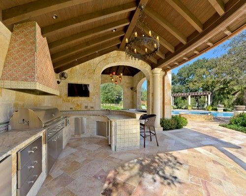 I Am In Love With This Perfect Place To Entertain Outdoors Mediterranean Landscape By H Build Outdoor Kitchen Covered Outdoor Kitchens Outdoor Kitchen Design