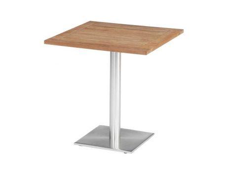 Stern Gartentisch Bistrotisch Aluminium Edelstahloptik Teak 70x70