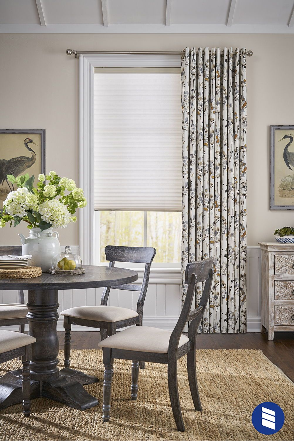 Light Filtering Cellular Shade Curtains With Blinds Dining Room