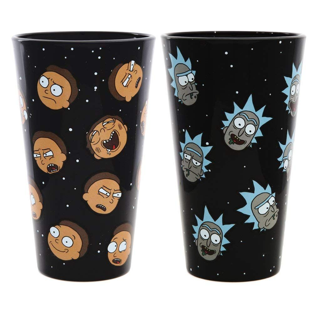 """16 OZ Official Rick and Morty """"RIGGETY RIGGETY WRECKED/"""" Pint Glass"""