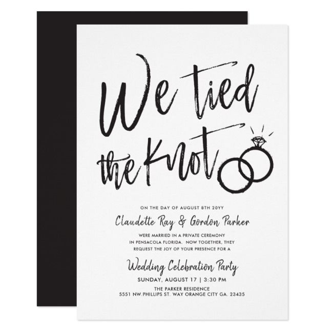 We Tied the Knot | Post Wedding Party Invitation | Zazzle.com