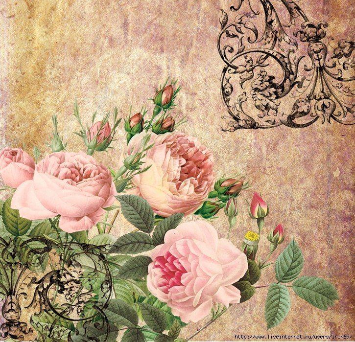 Изображением домиков, винтажные открытки с пионами