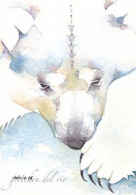ACEO-ORIGINAL-watercolor-painting-Del-Rio-SHINES-IN-THE-SNOW-polar-bear-spirit