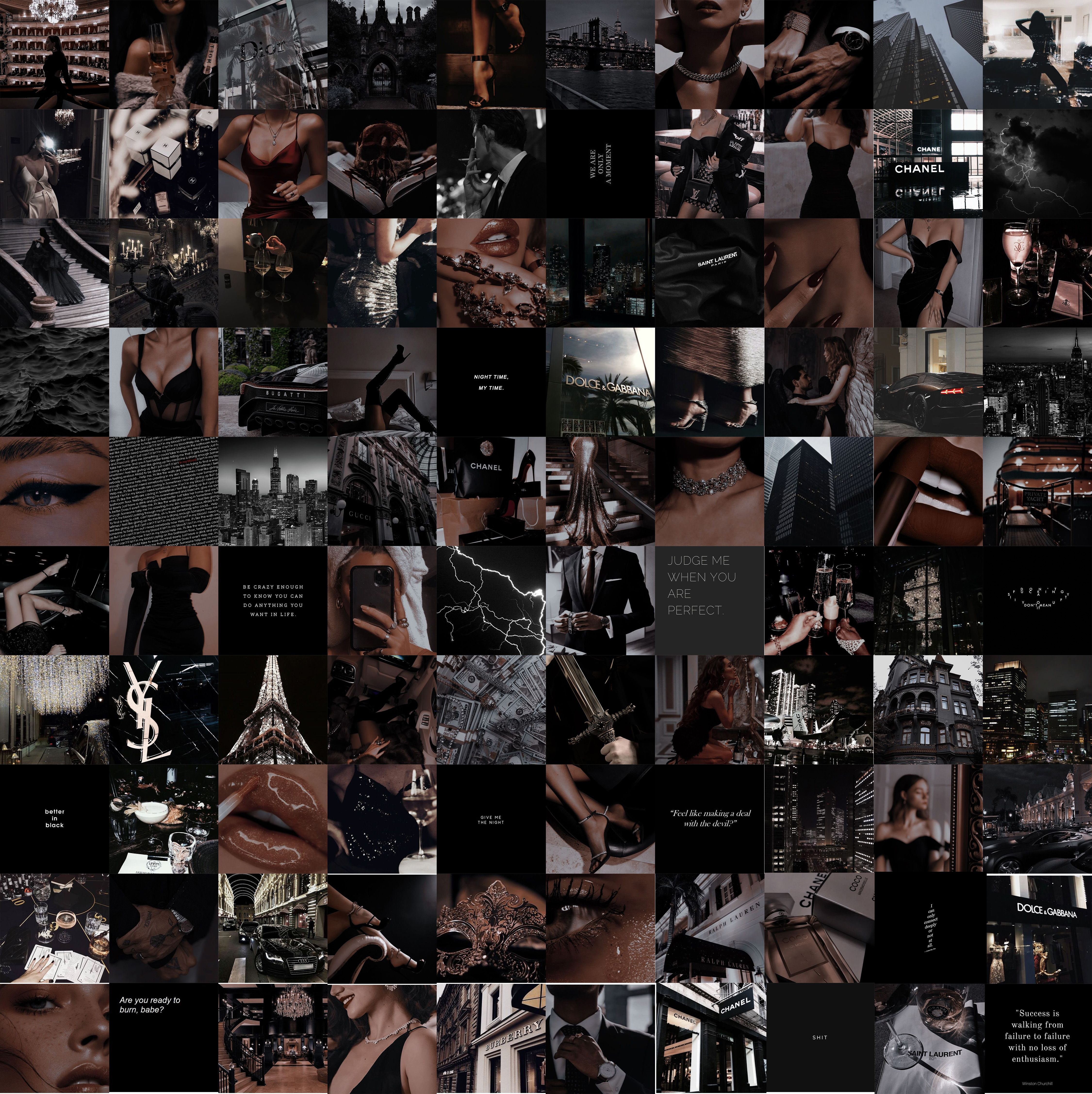 Boujee Dark Aesthetic Wall Collage Kit Tumblr Luxury Vibe Grunge Goth Decor