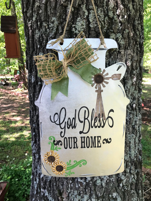 God Bless Our Home Milk Can Door Etsy In 2020 Door Decorations Fall Wooden Door Hangers Milk Cans