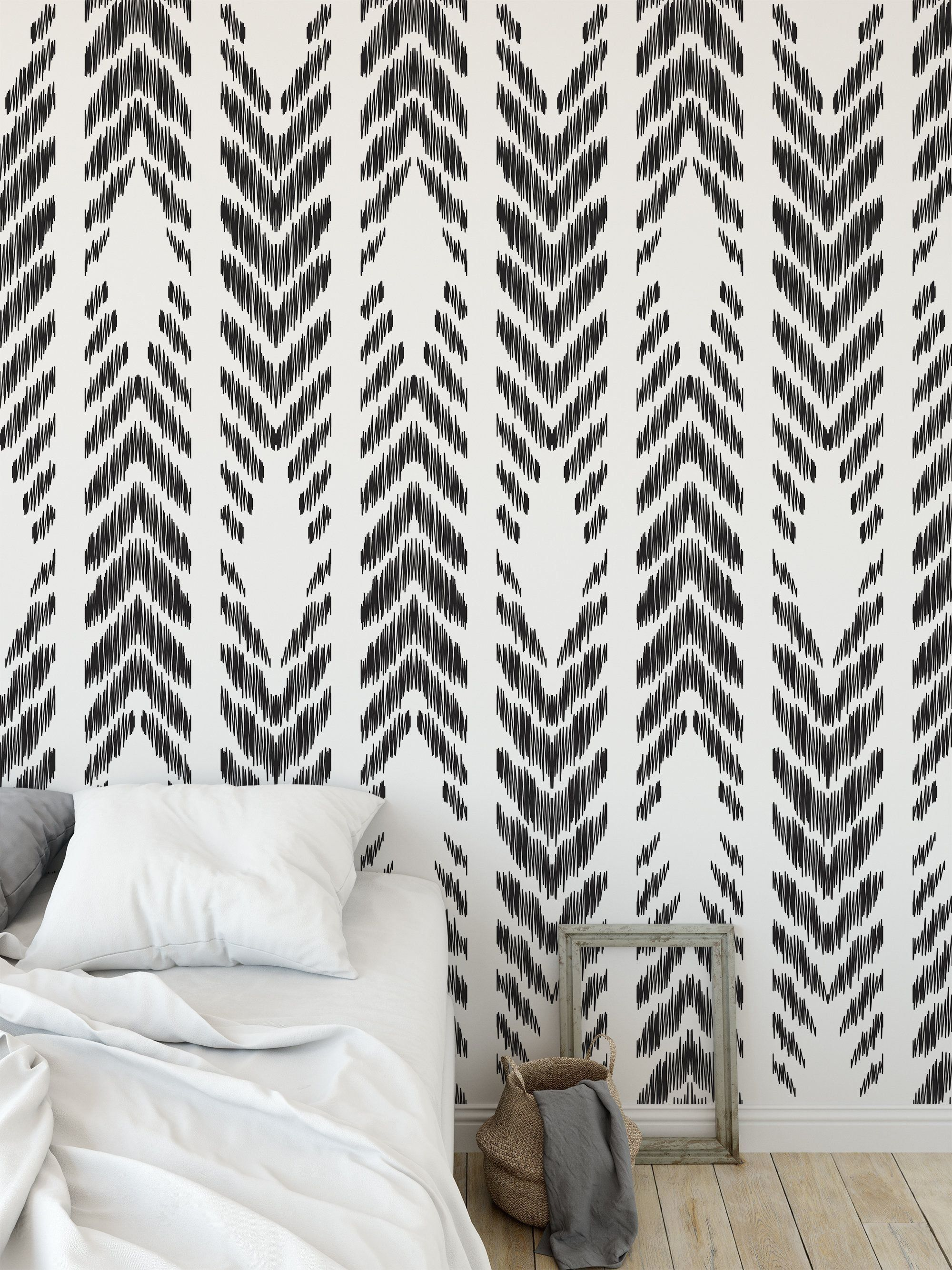 High Quality Repositionable Removable Self Adhesive Peel And Stick Wallpaper Herringbone Tribal Pattern In Peel And Stick Wallpaper Vinyl Wallpaper Home Decor