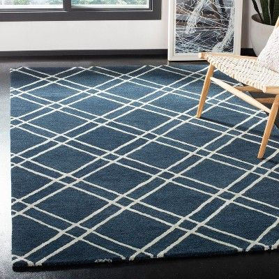 5 X8 Crosshatch Tufted Area Rug Navy Silver Safavieh Adult Unisex Blue Silver Area Rugs Rugs Home Rugs