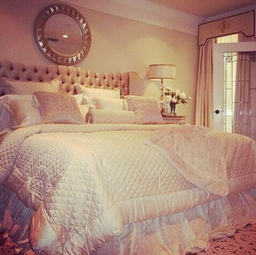Cream Orange Paint Wall Color Glamorous Bedrooms With White Cream Bedding  And Soft Grey Tufted Headboard In Fascinating DecorationBroke Girl  Expensive Taste   via Tumblr on We Heart It   Dream  . Glamorous Bedrooms Tumblr. Home Design Ideas