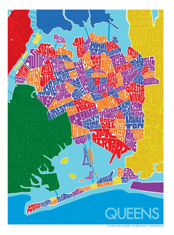 Map Of New York Showing Queens.Queens Rainbow Type Map 18 X24 By Typemaps 40 From Etsy