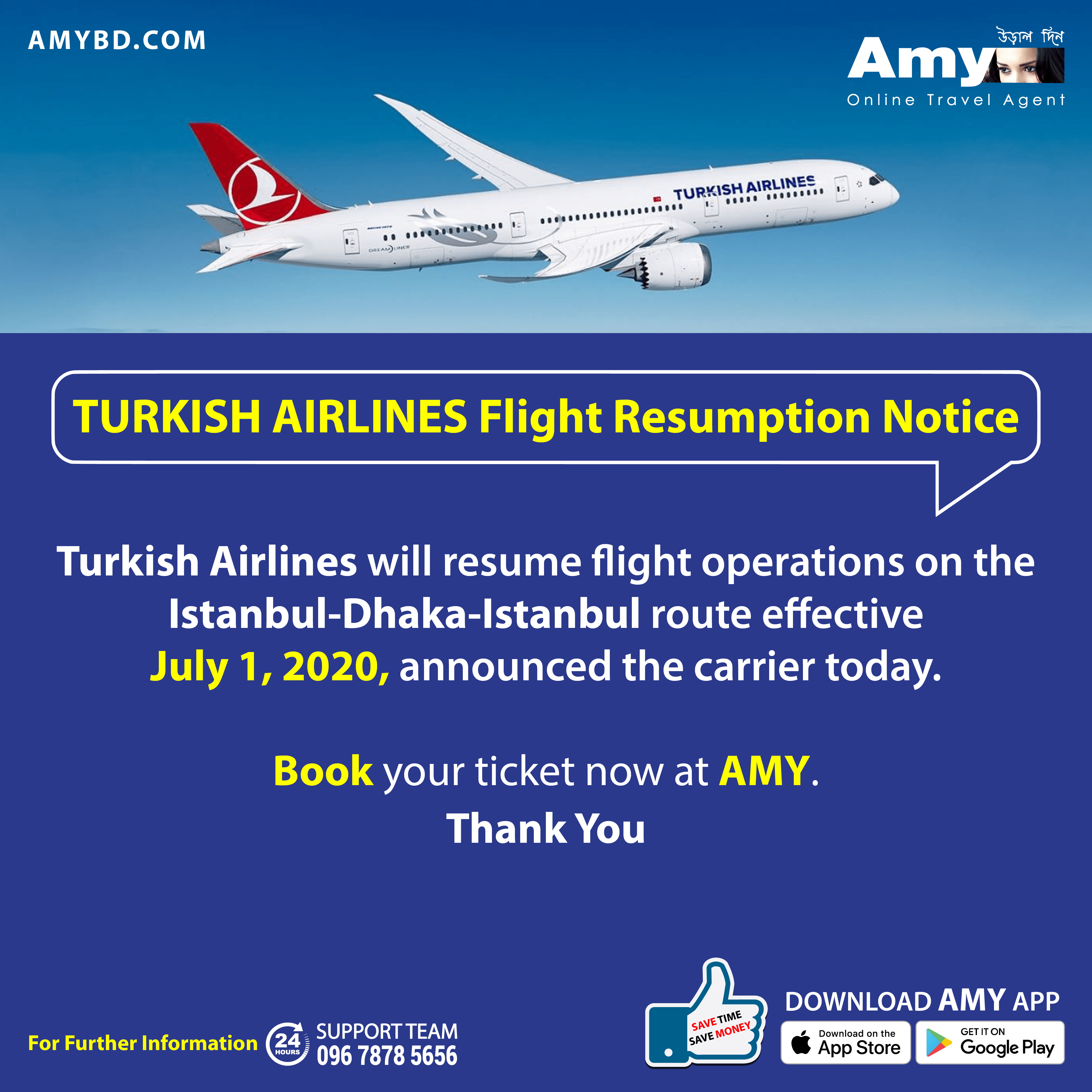 Turkish Airlines will resume flight operations on the