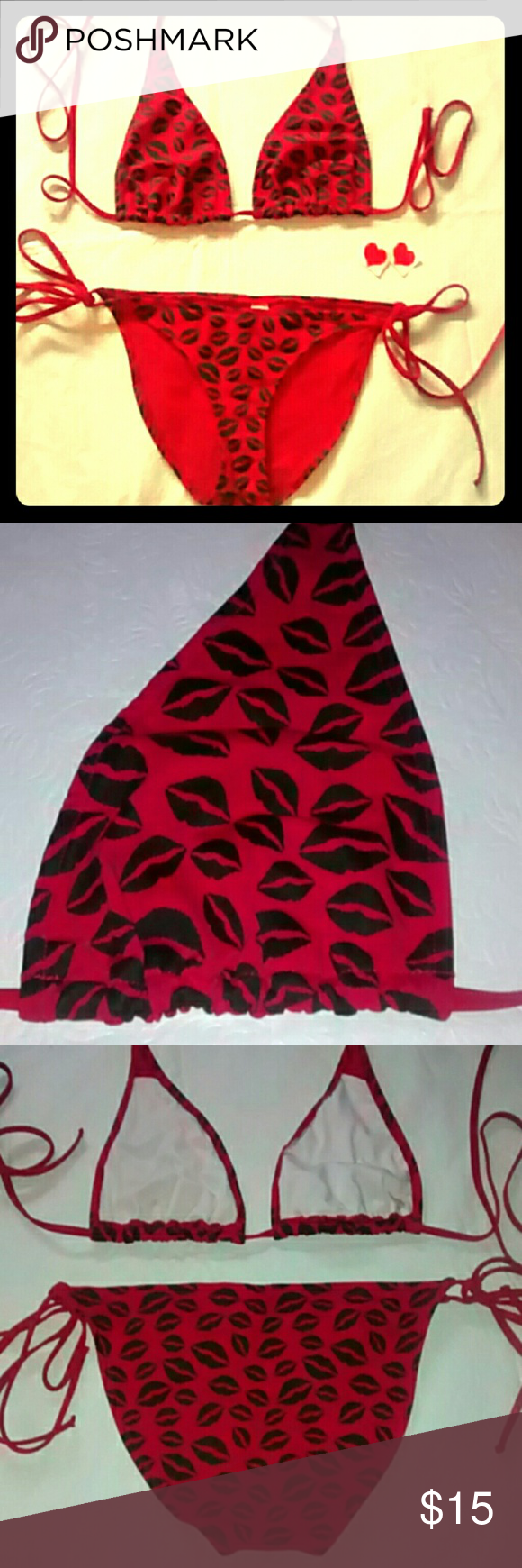 Hot Lips String Bikini✨✨ Excellent, Like New Condition! Size tags have been cut out but it's a size large. Bottoms tie in sides. Top is a halter type- ties around neck, and in back and has pockets to add padding inserts if desired (not included) Red w black hot lips print thru-out. Swim Bikinis