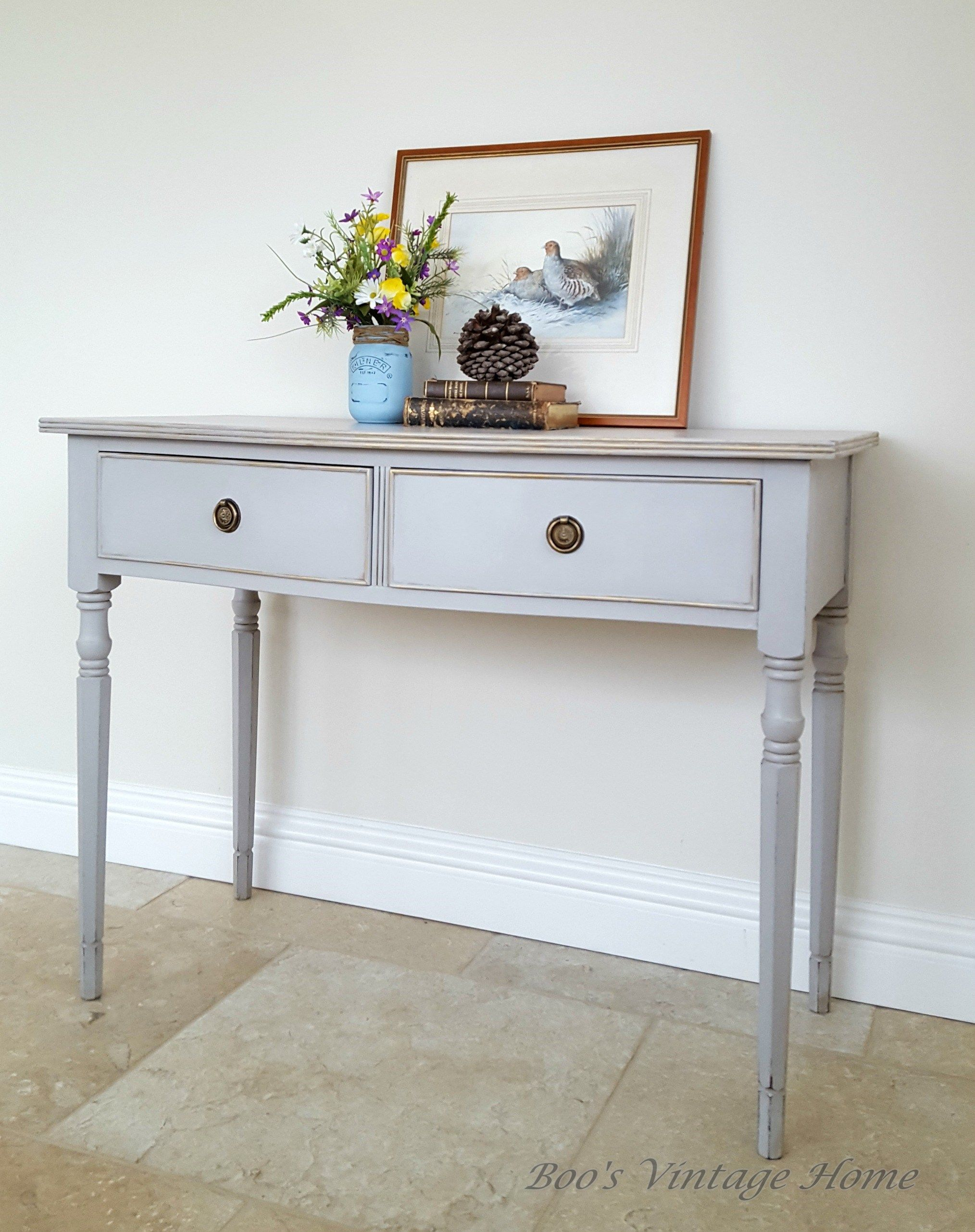 Elegant Little Console Table With 2 Drawers In Grey With Light Blue Drawer Slide Grey Painted Furniture Gray Console Table Vintage Furniture For Sale