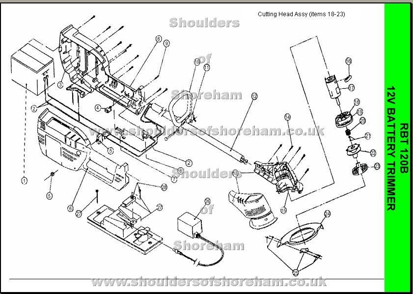 Ryobi RBT 120 Spare Parts Diagram | Ryobi Trimmer brushcutter ...