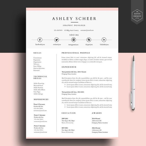 Cv Template Ideas Cover Letters Professional Resume Template Resume Template  For By HavinDesign  Templates For Resumes Free