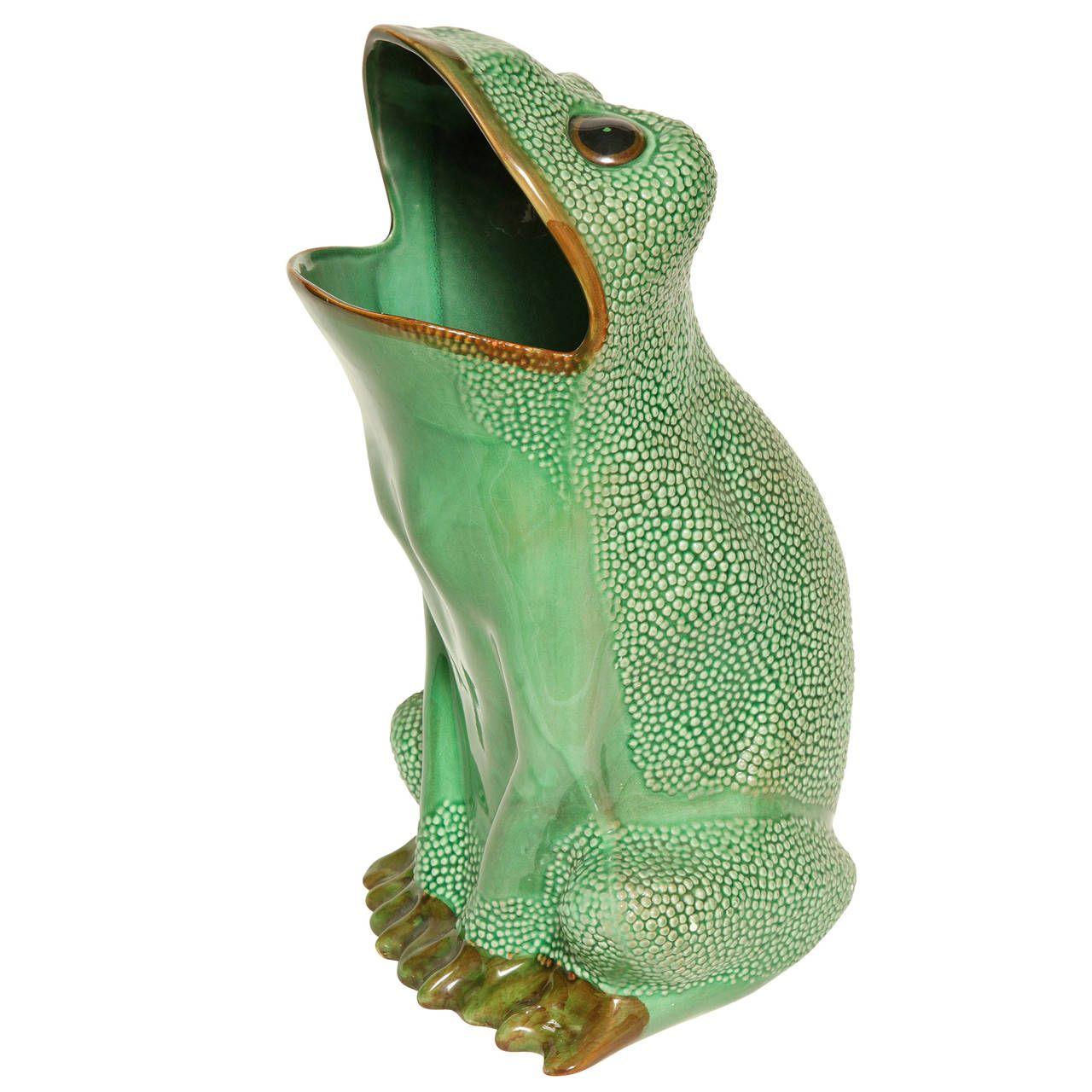 Italian Ceramic Frog Umbrella Stand From a unique