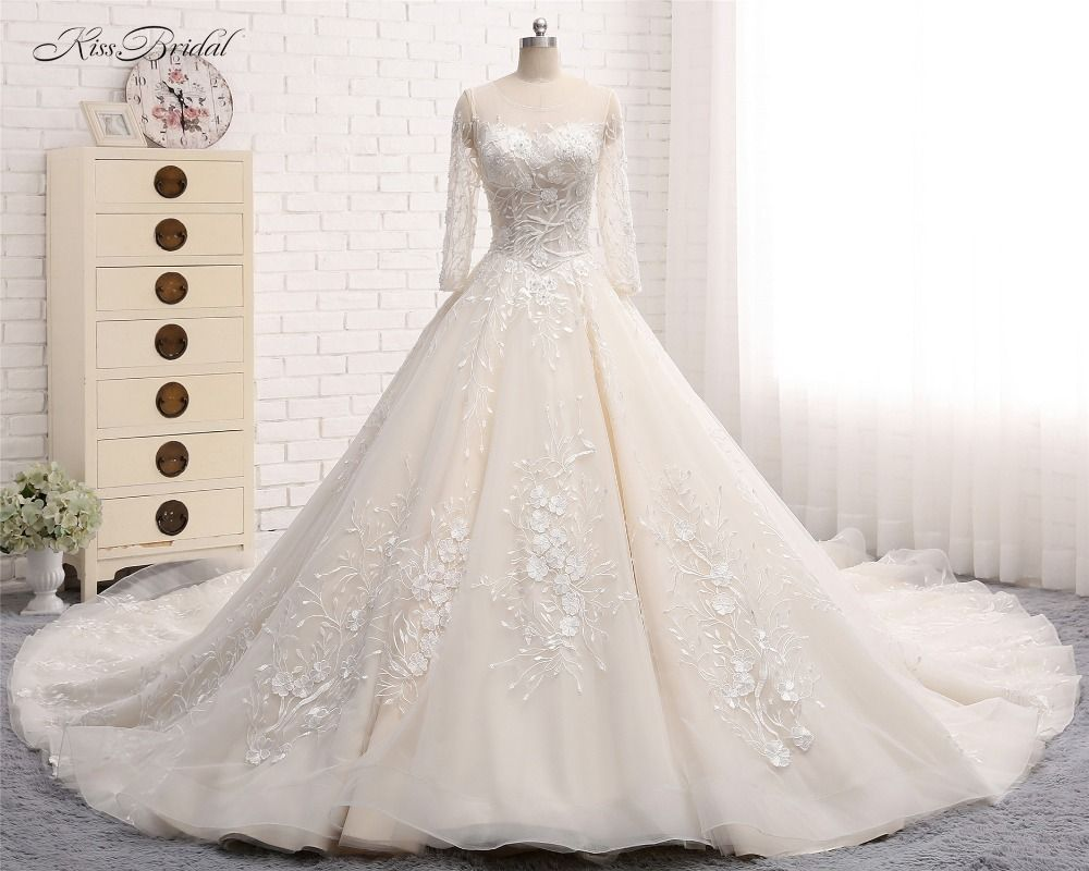 Click to buy ucuc fantastic new long wedding dress scoop long