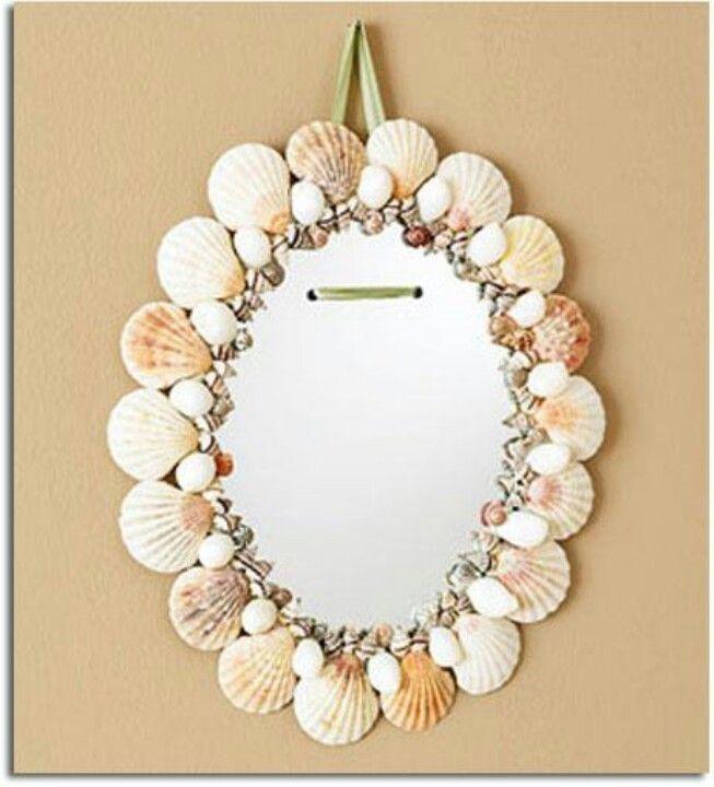 Decoracion de un espejo con motivos marinos ideal para un for Decoracion de un espejo