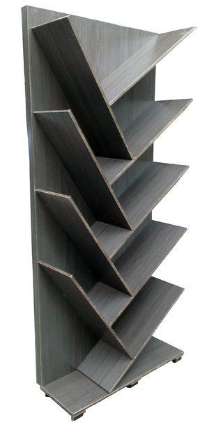 Librero fabricado en madera industrializada con recubrimiento melaminico color gris vintage - Libreros de madera modernos ...
