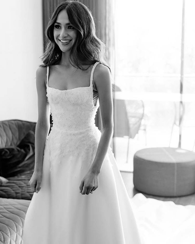 Real Bride Ep Tomorrow On The Theyouandmepodcast We Were Lucky Enough To Interview Danixmichelle On Theyouandmepodc Bride Wedding Dresses Reception Dress