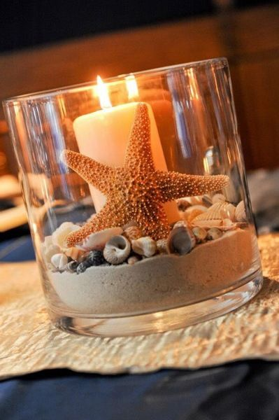 Vela con estrella de mar y arena decoracion playera - Banos pequenos decorados ...