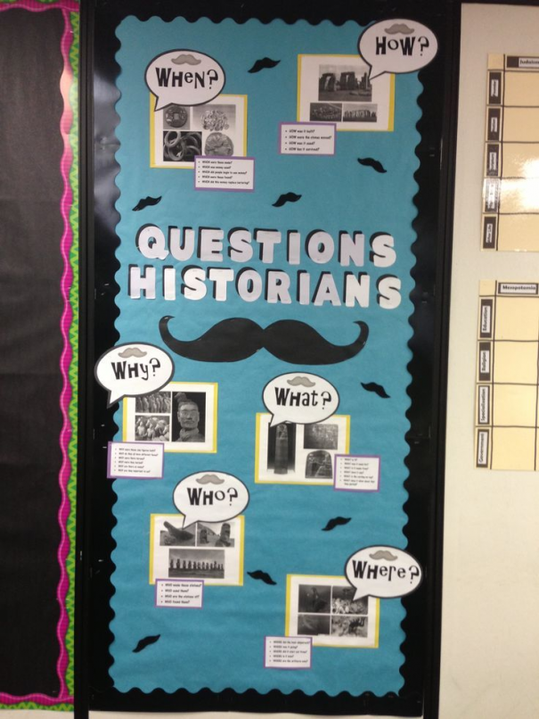 Photo of Fun mustache bulletin board  I made identifying the types of questions historian…