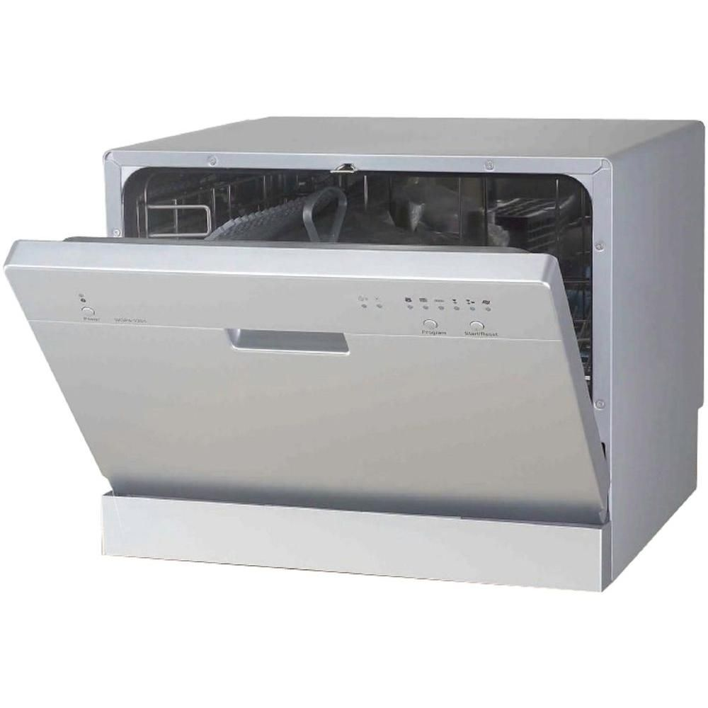 Spt Countertop Dishwasher In Silver With 6 Wash Cycles Countertop Dishwasher Space Saving Kitchen Portable Dishwasher