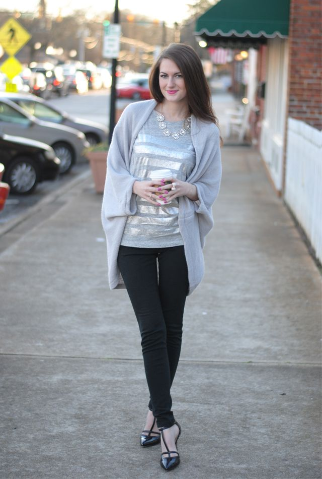 grey shrug + silver tee + black skinnies + black shoes + jeweled necklace + bow ring
