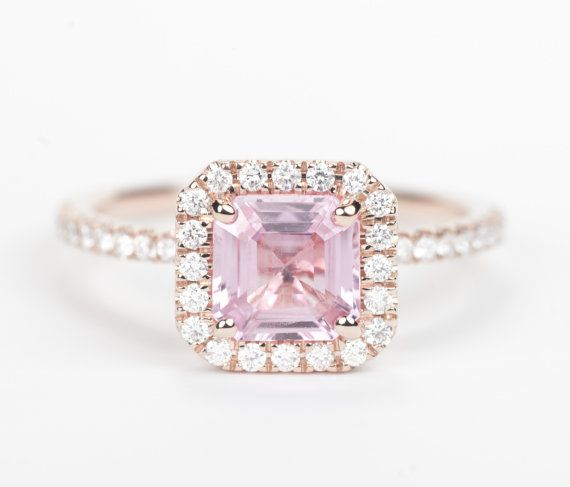 Certified Peach Pink Asscher Sapphire & Diamond by SundariGems