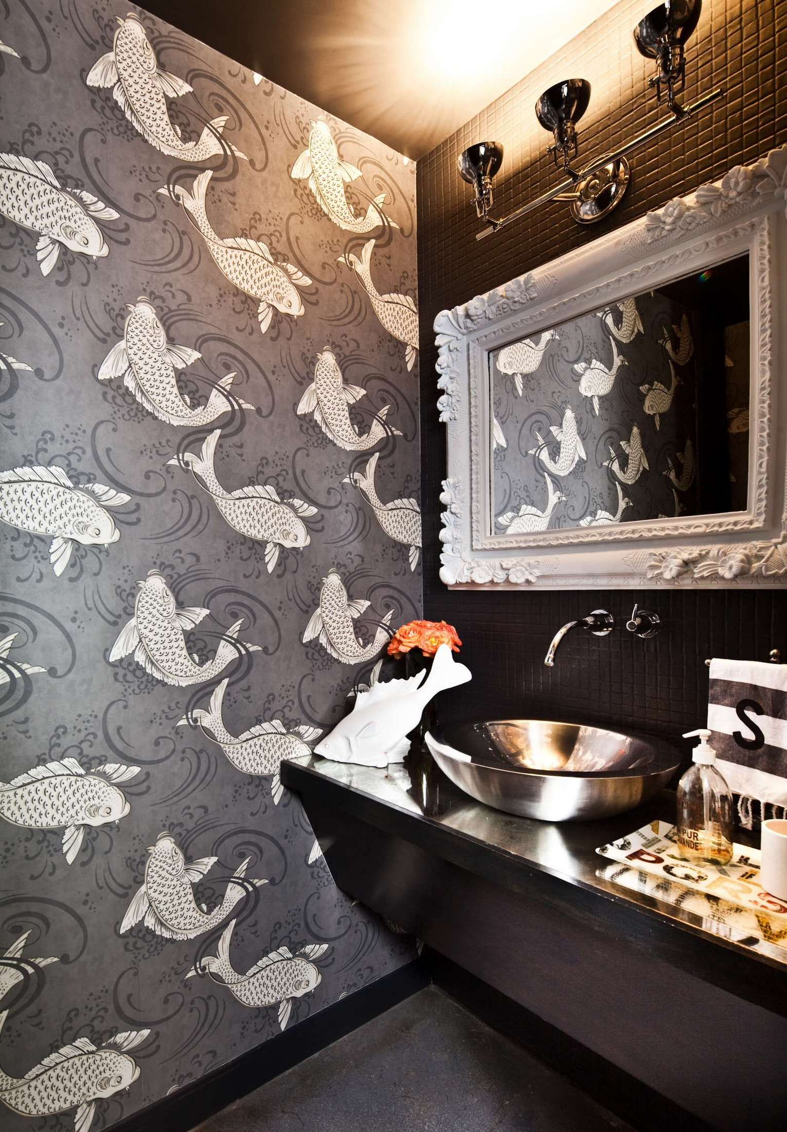 Gray koi fish wallpaper in the powder room | Usual House
